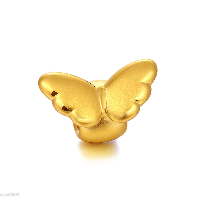 Pure 999 24K Yellow Gold knitted Bracelet 3D Angel Bead