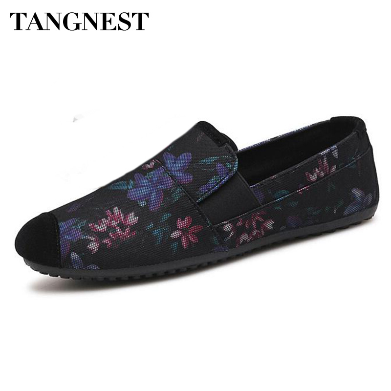 Tangnest Flats-Shoes Loafers Suede Casual New-Fashion Flower Slip-On for Male Mesh Toe