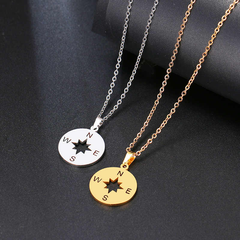 DOTIFI สร้อยคอสแตนเลสผู้หญิง Lover's Gold และ Silver สีเล็กๆรอบเข็มทิศ Handmade สร้อยคอเครื่องประดับ