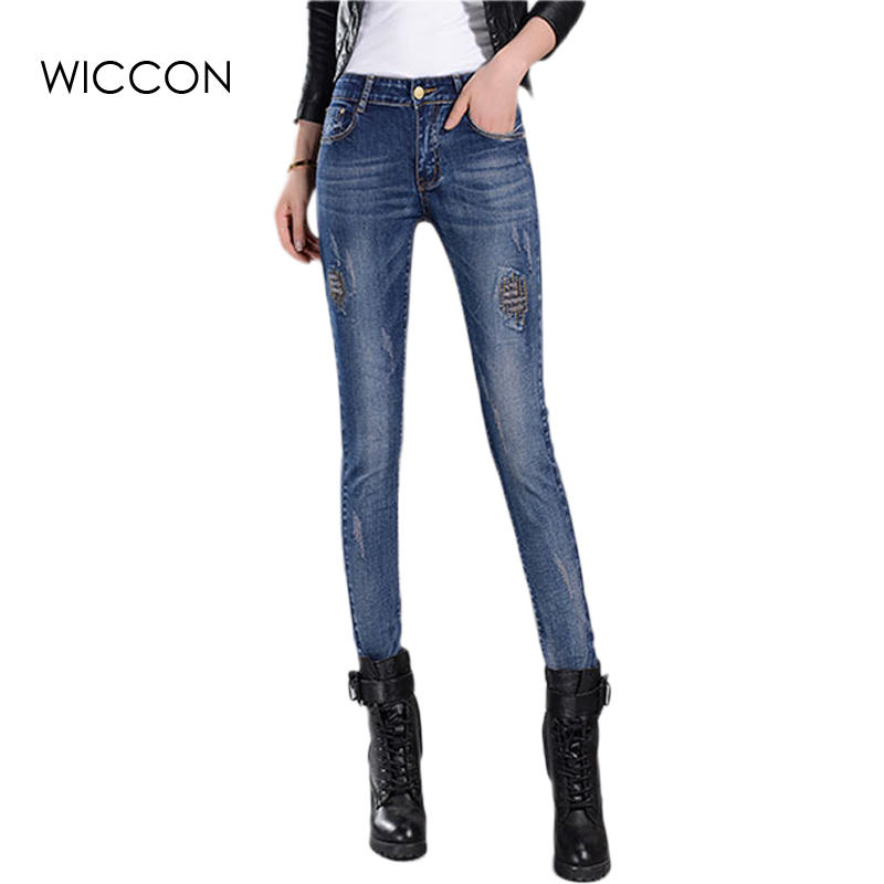 2017 Spring Autumn Women Jeans Students Stretch Skinny Female Slim Pencil Pants Patchwork Denim Pants Ladies Trousers WICCON spring summer autumn ladies full length jeans students stretch skinny female slim pencil pants denim ladies trousers yn301