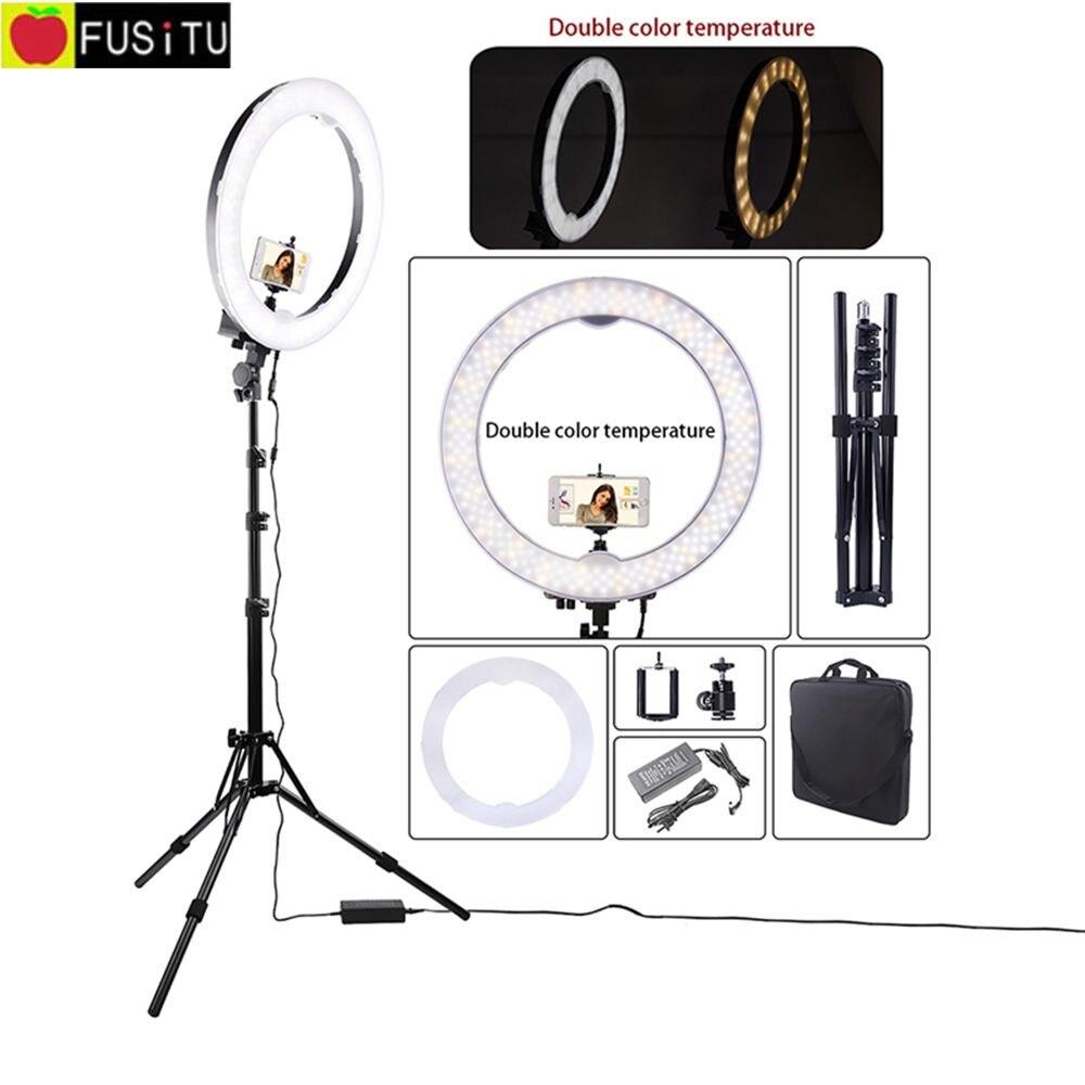 Fusitu 18 Dimmable Studio Photography Lighting 240pcs LED Video Light Bi color Camera Photo Phone Ring