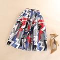 Moda Primavera Verão Outono Saias Plissadas Saias Faldas Mulheres Cintura Alta Casual Mid-Bezerro Comprimento Skater Geométrica Saia Impressão