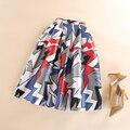 Saias Faldas Plisadas Faldas Primavera Verano Otoño Moda Mujeres de Cintura Alta Casual Mitad de la Pantorrilla Skater Falda de Estampado Geométrico