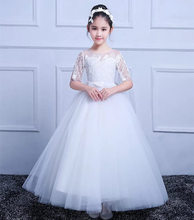 Tulle Full Sleeve Lace Flower Girl Dresses for Wedding First Communion Dresses Wedding Party Dress Runway Show Pageant Danceway arabic 2018 sheer neck lace appliques flower girl dresses for wedding sleeveless pearl backless tulle little girl pageant dress