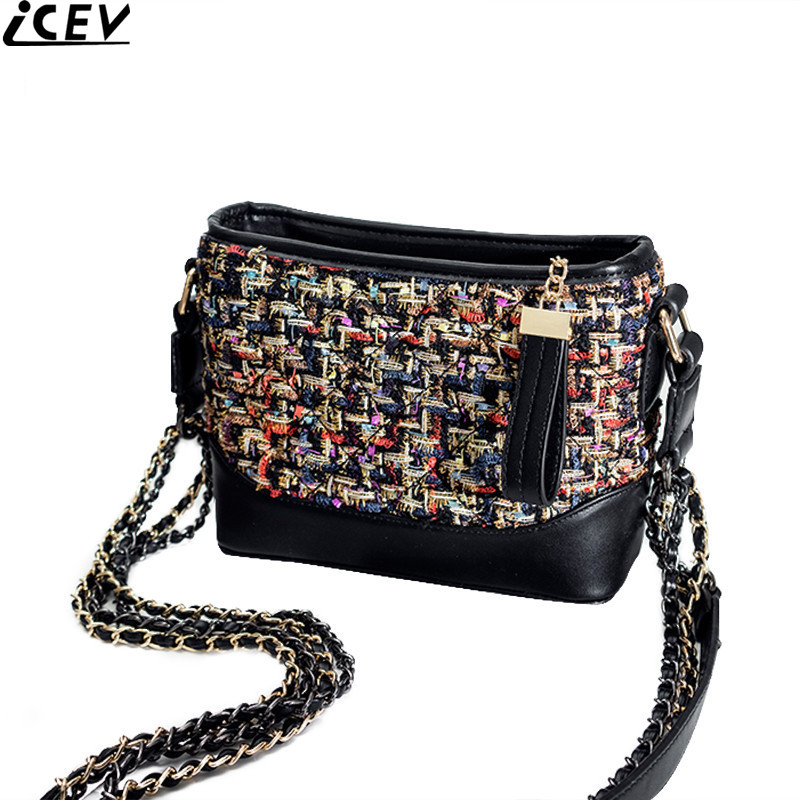 ICEV new bucket handbag weave woolen fashion women messenger bag famous designer top quality quilted chain shoulder bag for lady