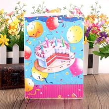 5 Pcs/lot Birthday Cake Print Music Card Kids Blessing Greeting Happy Gift Creative