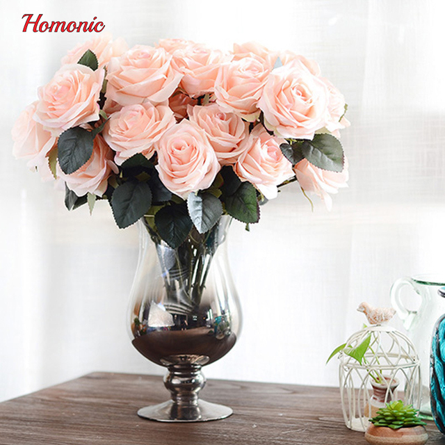 10 Head French real touch silk roses flower bouquet artificial ...
