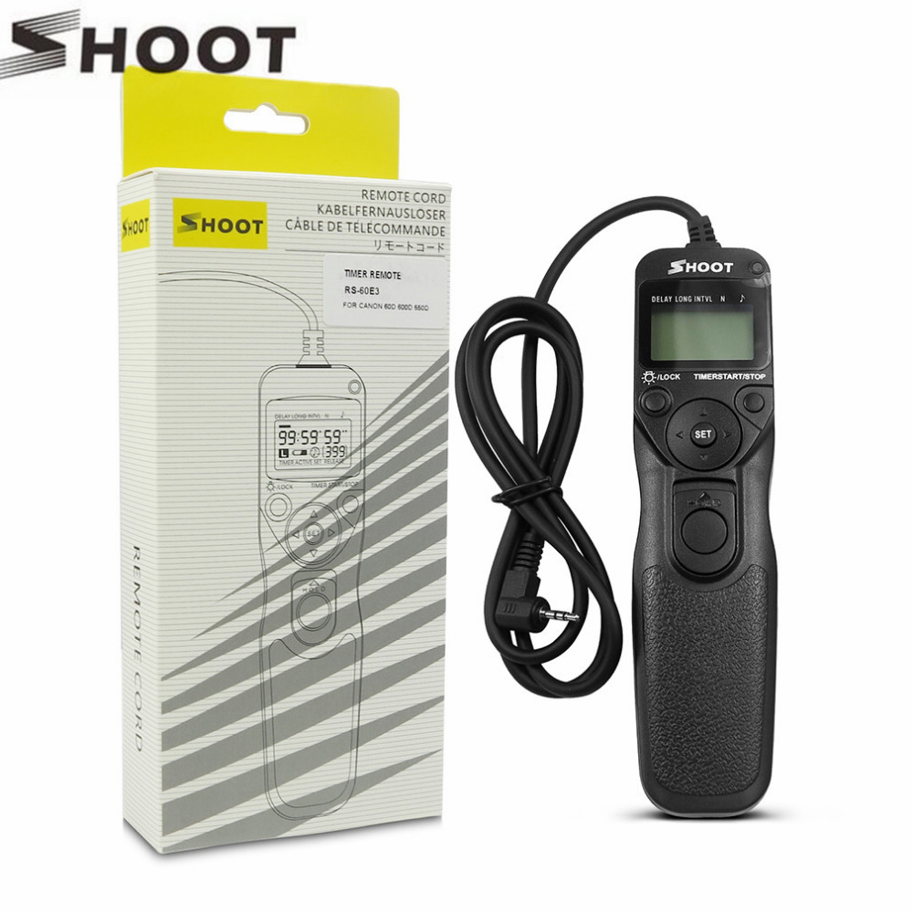 Shoot RS 60E3 Selfie Timer Remote Control Shutter Release Cable MC TC for Canon EOS 60D