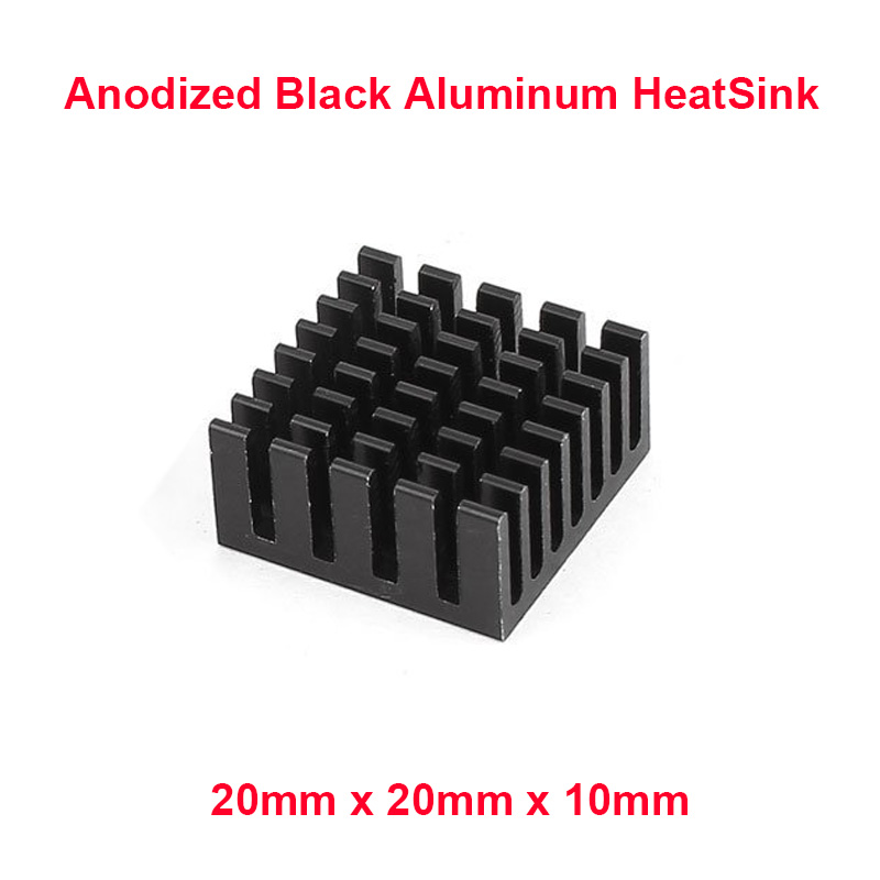 5pcs/lot Anodized Black Aluminum Heatsink 20x20x10mm Electronic Chip Cooling Radiator Cooler for power IC,Electric chipset etc. 20pcs lot aluminum heatsink 14 14 6mm electronic chip radiator cooler w thermal double sided adhesive tape for ic 3d printer