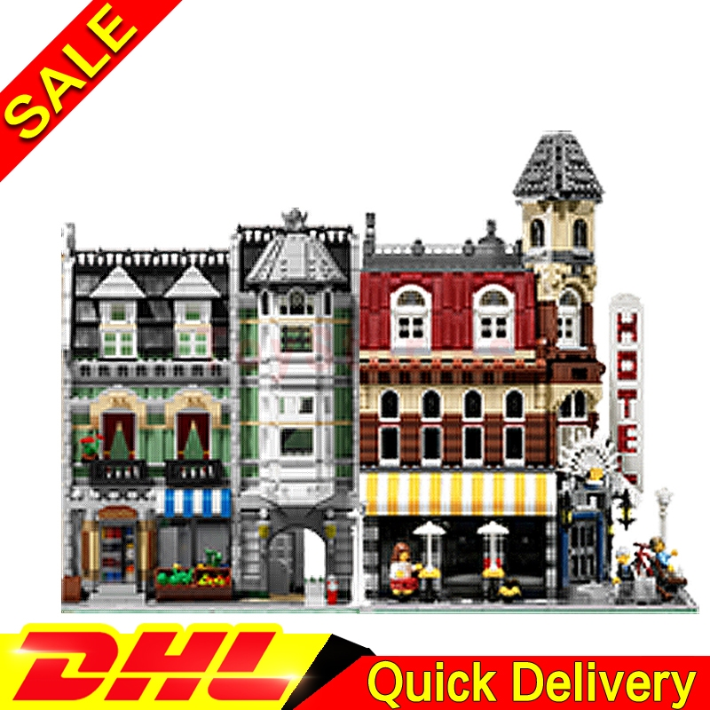 Lepin 15002 Cafe Corner + Lepin 15008 Green Grocer City Street Model Building Blocks Bricks Kits legoings Toys Clone 10182 10185 hot sale lepin 15008 2462pcs city street green grocer model building kits blocks bricks compatible educational toys for kids