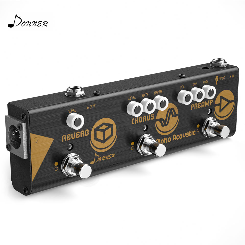 Donner Mini Effect Chain Alpha Acoustic Guitar Effect Pedal Acoustic Preamp Chorus and Hall Reverb Portable