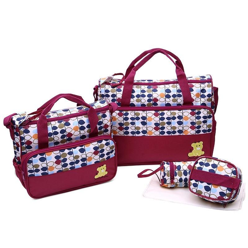 HTB1hMwBVrrpK1RjSZTEq6AWAVXa0 MOTOHOOD 39*28.5*17CM 5pcs Baby Diaper Bag Suits For Mom Baby Bottle Holder Mother Mummy Stroller Maternity Nappy Bags Sets