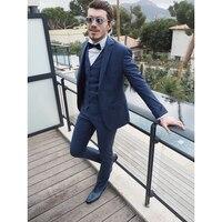 Custom Made Marineblauw Mannen Pakken Slim Fit 3 Stuks Mannen Blazer Bruidegom Wear Mannen Smokings Prom/Party Suits (jas + Broek + Vest) FA723