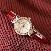Korean Fashion Woman Watch Zircon Stone heart Stone Round Dial Lady Watch leather watchband Wrist Quartz Watch