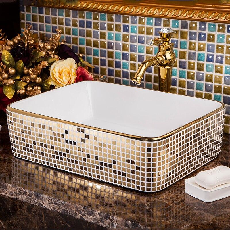 Rectangular Bathroom Cloakroom Ceramic Counter Top Wash Basin Sink Washing basins wash art basin (7)