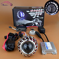 New Motorcycle Headlight 12V 35W AC Mini Hid Bi-xenon Projector Lens Retrofit Xenon Headlamp Light Kit With CCFL Angel Eye Halo