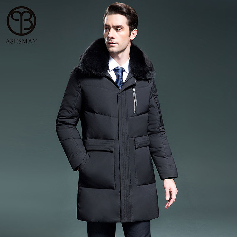 Asesmay 2017 brand men down jacket men winter business casual long down parka high quality winter thick jackets hooded coats