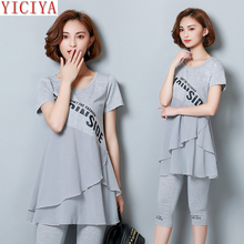 Gray Ruffles 2 Piece Set Plus Size Large Tracksuits for Women Outfits Co-ord Chiffon Top and Pants Sportswear Fitness Clothing