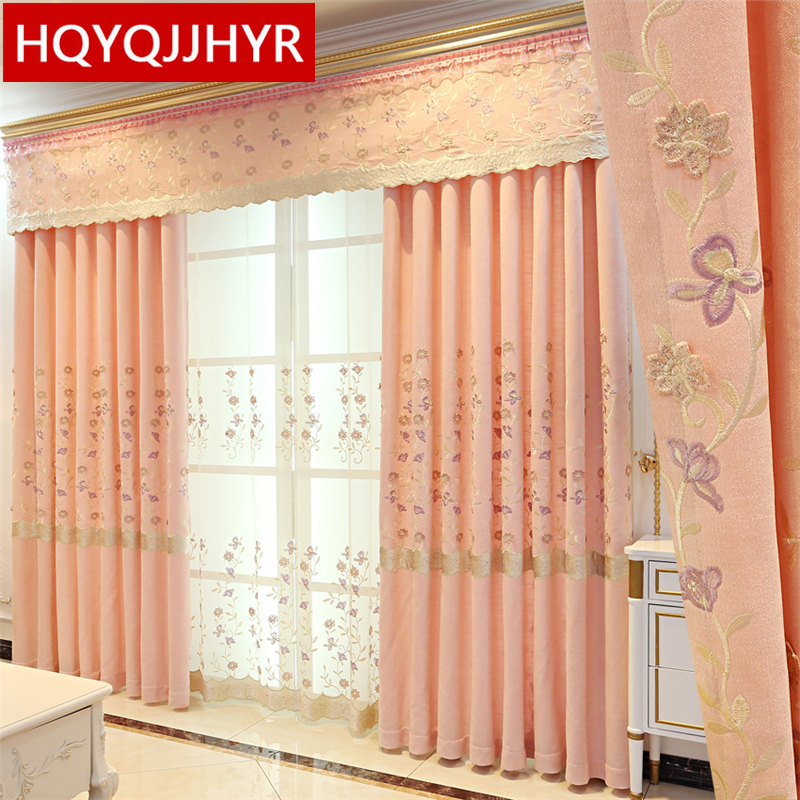 US $14.89 49% OFF|European modern embossed embroidered pink Curtains for  Living Room Windows high quality embroidered Voile Curtain for bedroom-in  ...