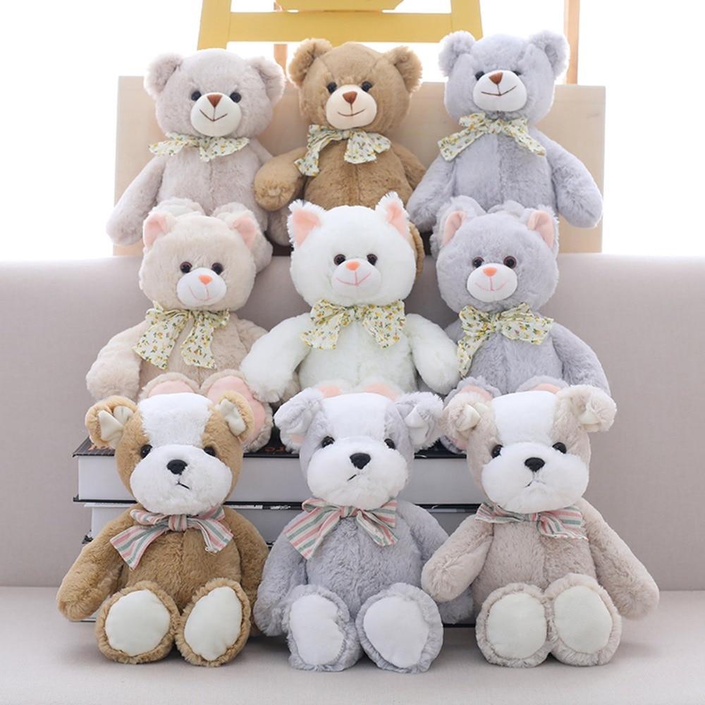 9 Style 30cm Cute Teddy Bear/Dog Bow tie Soft Kids Toys Staffed Animal Plush Cat Doll for Children Birthday Christmas Brinquedos