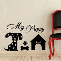 Free shipping DIY Pet Dog My Puppy Paw House Wall Decal Sticker Home Decor Vinyl Stickers Decoration Mural Art Wallpaper