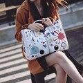 Angel Voices!brand printed PU bag vintage handbag womens medium big tote bags female crossbody bags for women handbag