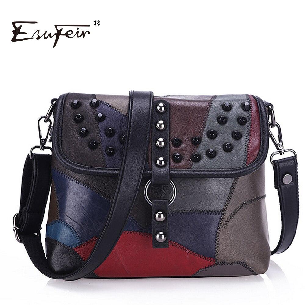 New 2017 Sheepskin Leather Women Messenger Bag Rivet Patchwork Shoulder Bag Famous Brand Crossbody Bag For Women femmes sac