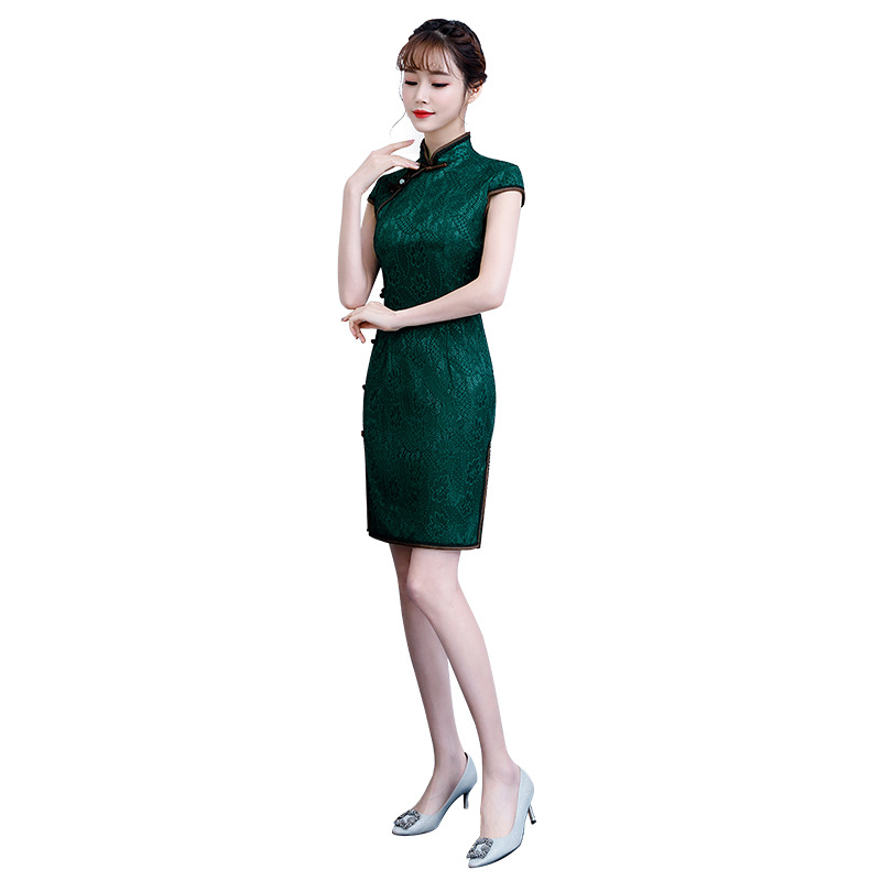 Green Summer Lace Embroidery Cheongsam Elegant Women' S Handmade Button Dress Short Sleeve Knee Length Sexy Short Dress M-3XL