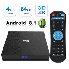 лучшая цена 2019 T9 tv box android 8.1 WIFI 4GB 32GB/64GB TV Box with Keyboard BT4.0 RK3328 Quad Core Smart tv box Set Top android 8.1 Box