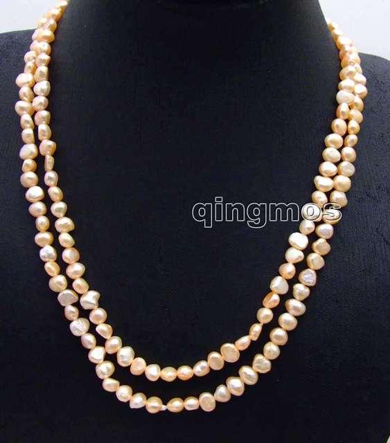 """Мода Длинные 40 """"Натуральный Розовый 6-7 мм Барокко пресной воды перл necklace-nec6107 оптовой/розничной Бесплатная доставка"""