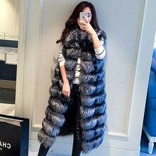 2016 New Faux Sliver Fox Fur Coat Sleeveless Vest luxurious Fox Fur X-Long Coats Jacket Women Winter Colete Feminino Gilet