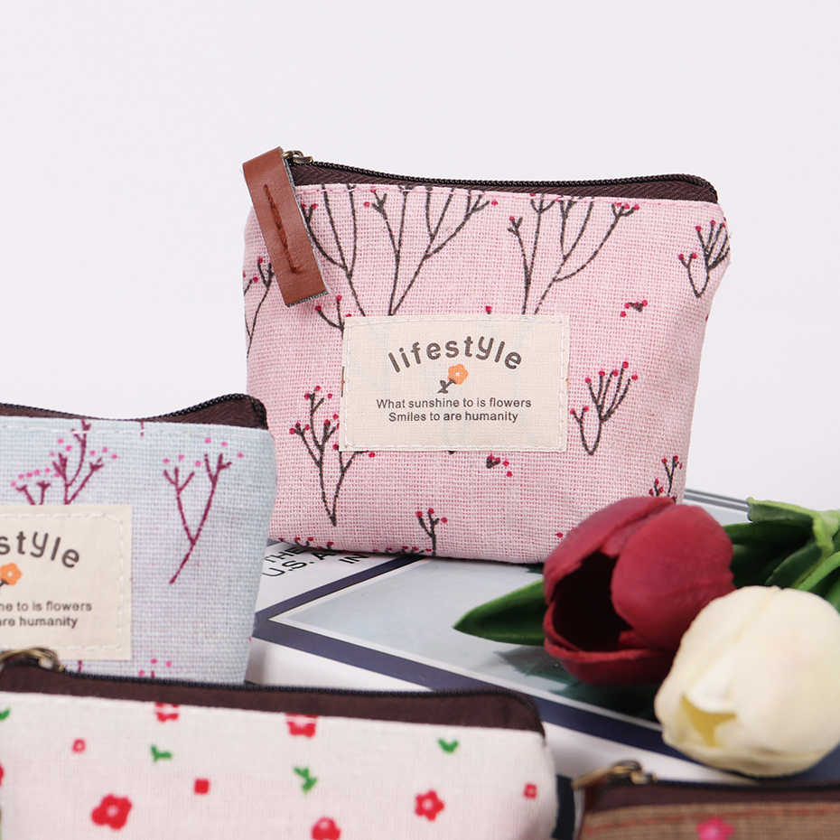 Небольшой Свежий пастырской стиль портмоне леди холст молния кошелек леди сумка для монет для сумки; ключница