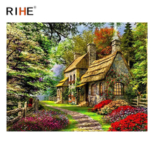 RIHE Suburb House DIY Painting By Numbers Kit, Framed Paint By Numbers on Canvas, Modern Wall Art Picture, Acrylic Paint 40x50cm rihe exquisite rose flowers framed oil painting by numbers coloring by numbers modern wall art picture home decoration 40x50cm