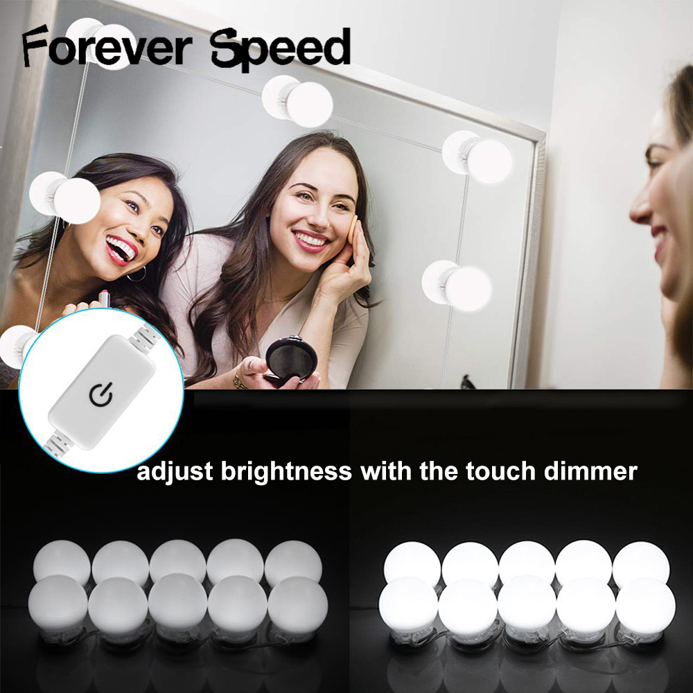 Makeup Light Led Vanity Lights Mirror Wall Lamps Dimmable 10 Bulb Warm White Make Up Mirrors Powered Cosmetic Usb Input Light