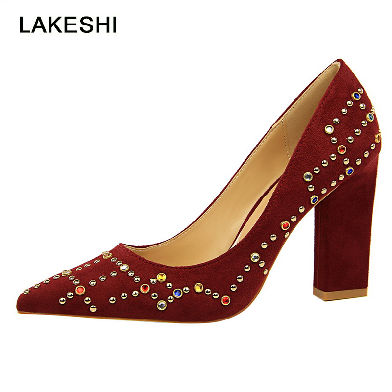 LAKESHI Women Pumps Sexy High Heels Multicolor Rhinestone Shoes Women Square Heels Fashion Flock Pointed Toe Shoes Pumps