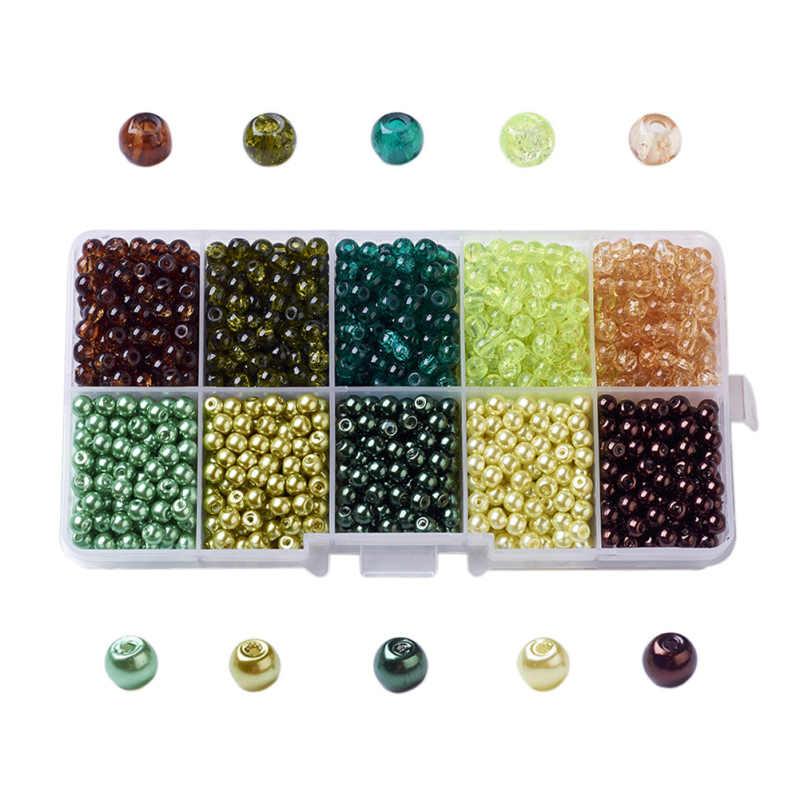 1box Misto di Cottura Dipinto Rotondo Crackle Perle di Vetro Perle Di Vetro della perla Set per Monili Che Fanno FAI DA TE 4 millimetri 6mm 8 millimetri 10mm, foro: 1mm