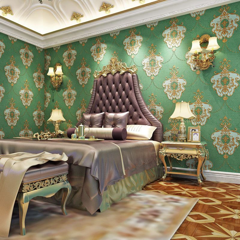 Light Green Damask Wallpaper 3d Embossed Wall Paper Roll Luxury Textured Non Woven For Bedroom Living Room Damask Wallpaper Wallpapers Aliexpress