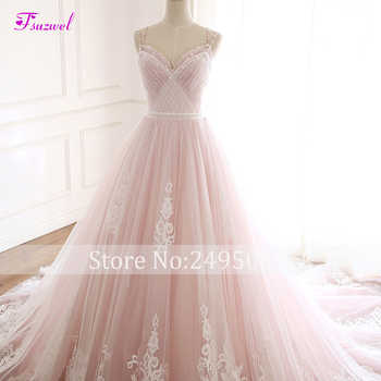 Fsuzwel Elegant Pleated Beaded A-Line Wedding Dresses 2019 Sexy Spaghetti Straps Appliques Princess Bridal Gown Vestido de Noiva