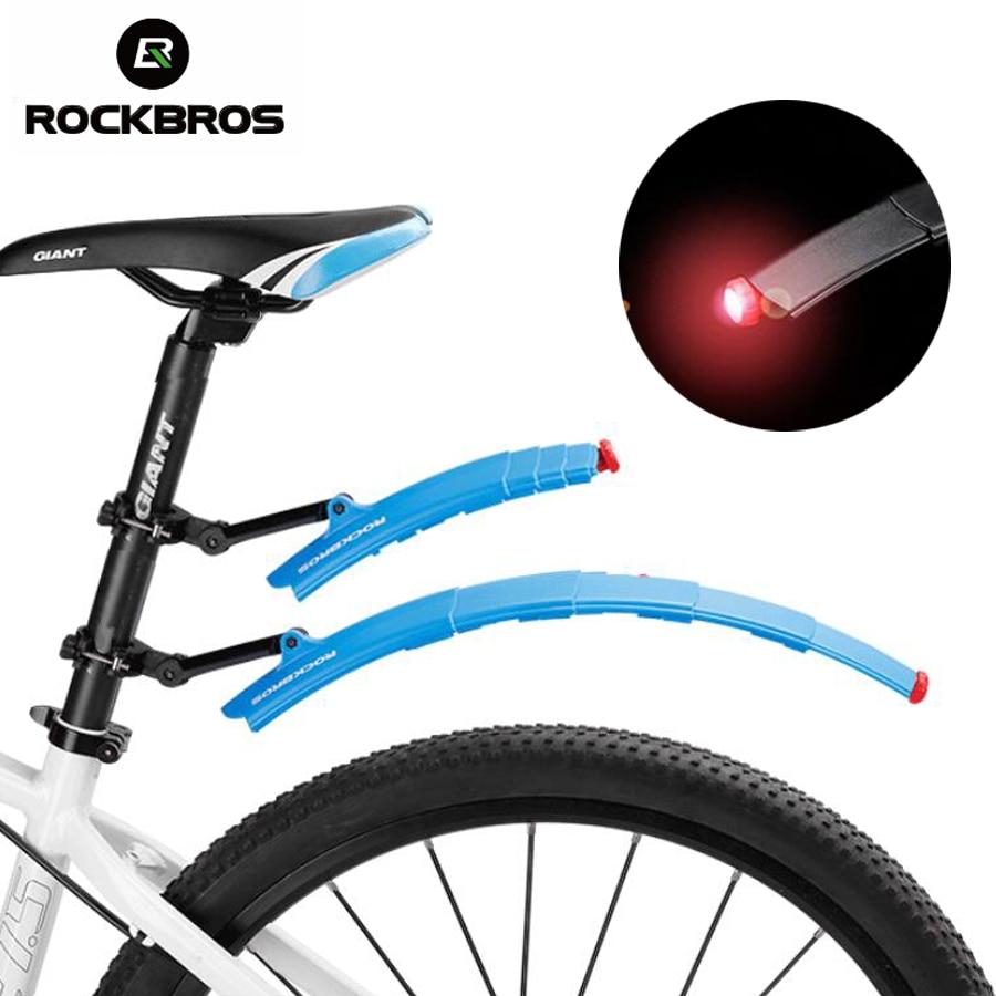 Rockbros Bicycle Folding <font><b>Fender</b></font> With Tail Light Multifunction Mudguard Bike Mud Front Rear Mountain Mtb Guards Adjustable <font><b>Fender</b></font>