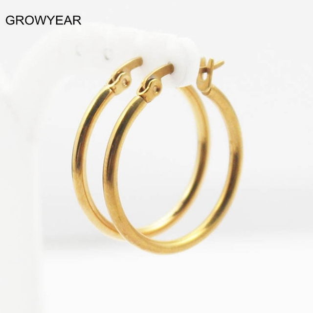 Bulk Clic Simple Stainless Steel Round Earrings Jewelry Golden Small Hoop For Women S
