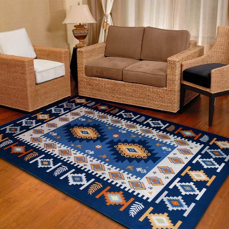 Mediterranean Style Rug Linter Bed Bedroom Stylish Living