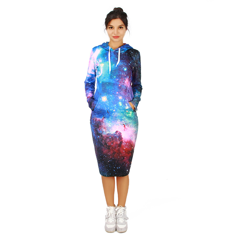 Autumn And Winter New Three-Dimensional Digital 3D Card Printing And Velvet Hoodie Dress Outside Sweater Hoodie Dress