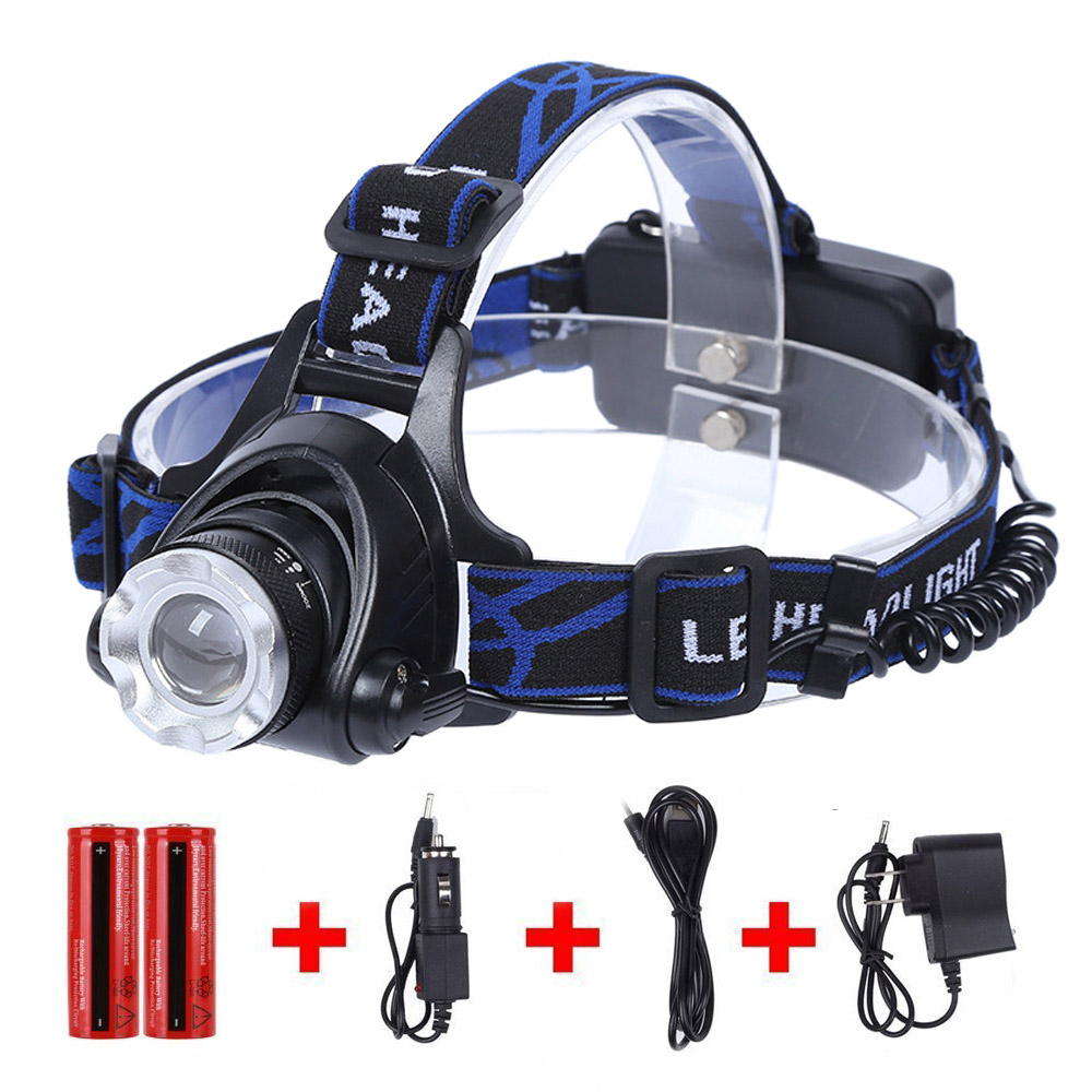 Reiled T6 LED Waterproof 3 Modes Zoomable Head Flashlight Ultra Bright Headlamp