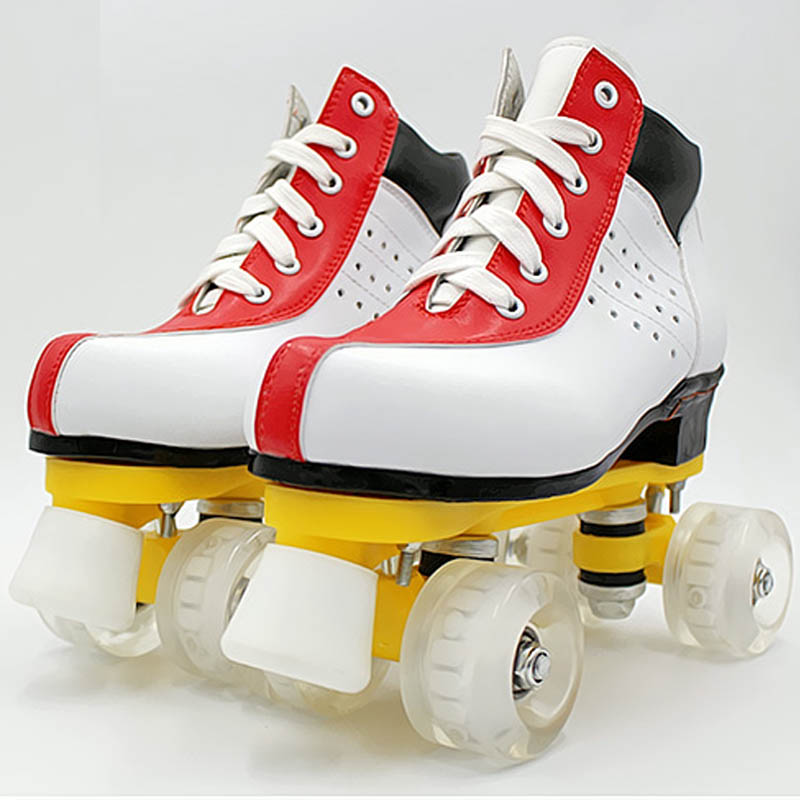 Roller Skates White Red Leather With Led Lighting Wheel 34-45 Double Line Skates Adult 4 Wheels Two line Roller Skating Shoes children roller sneaker with one wheel led lighted flashing roller skates kids boy girl shoes zapatillas con ruedas