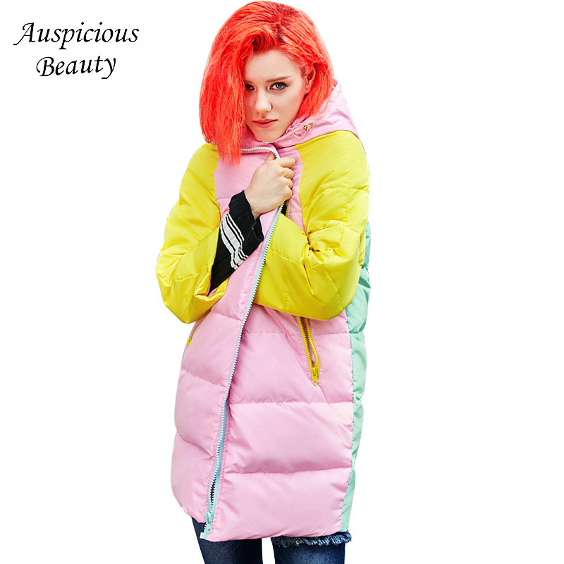 2018 Winter New Women Fashion College Printed Hooded Down Jacket Female Womens Long Patchwork Winter Warm Overcoat CX275