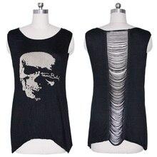 New 1 PC Gothic Skull Backless T Shirt Tank Vest Punk Rock Summer Singlet Tassel