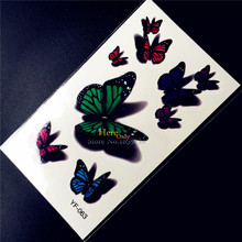 3D Butterfly Waterproof Temporary Tattoo Stickers HYF-063 Kids Gifts Water Transfer Tattoo Paste Tatouage Taty Tatoo Face Hands