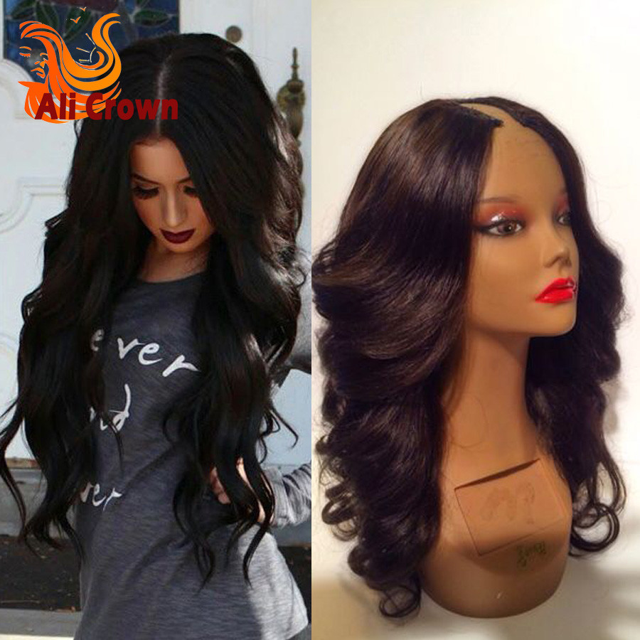 Wavy Human Hair U Part Wigs For Black Women Top Quality 8-26 Inch Body Wave Upart Malaysian Wigs Human Hair Middle Part Wigs (3)