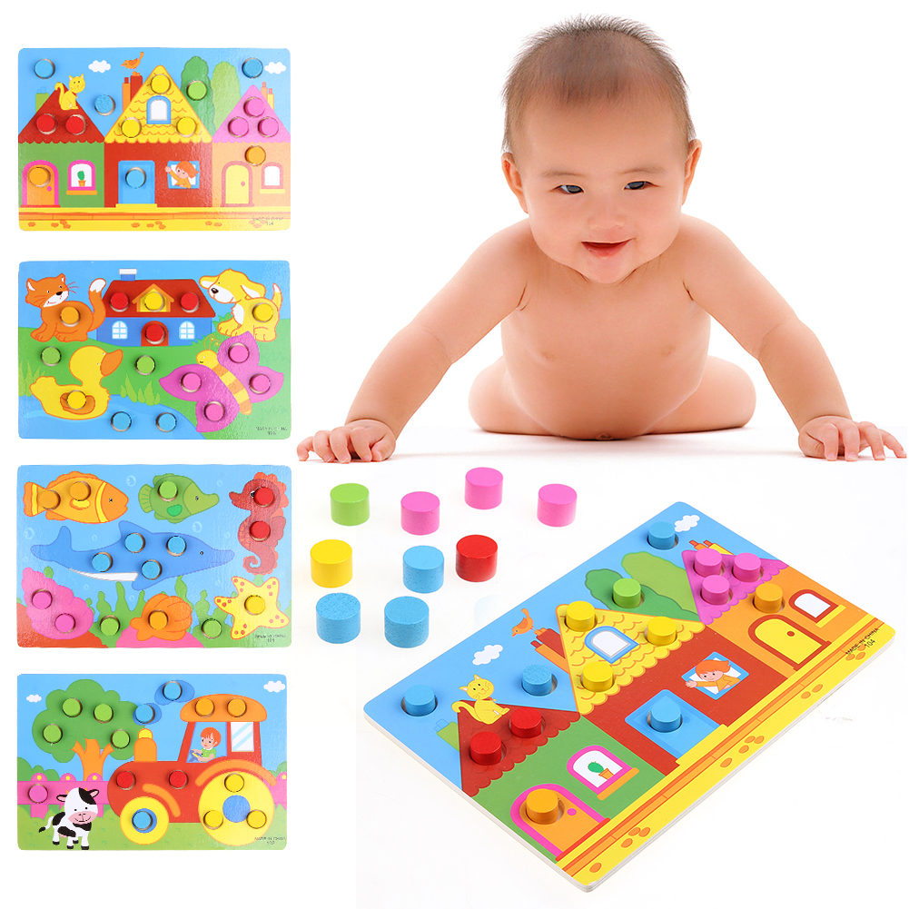 Kids Educational Toys Colorful Cognition Board Montessori Children Wooden Jigsaw Puzzle Toys Color Match Game Board Wooden Toys image