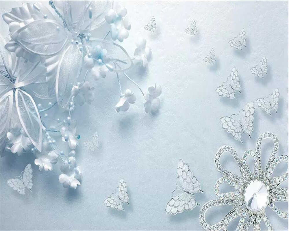 Beibehang Wallpaper Kustom 3D Foto Mural Kecantikan Murni Biru 3d Transparan Bunga Butterfly TV Latar Belakang Wallpaper Untuk Dinding 3 D